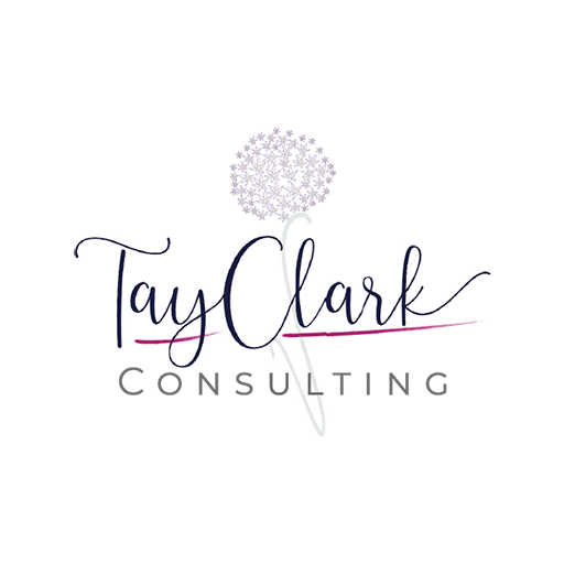 TayClark written in dark purple script and Consulting in a sans serif grey font with flower in the background